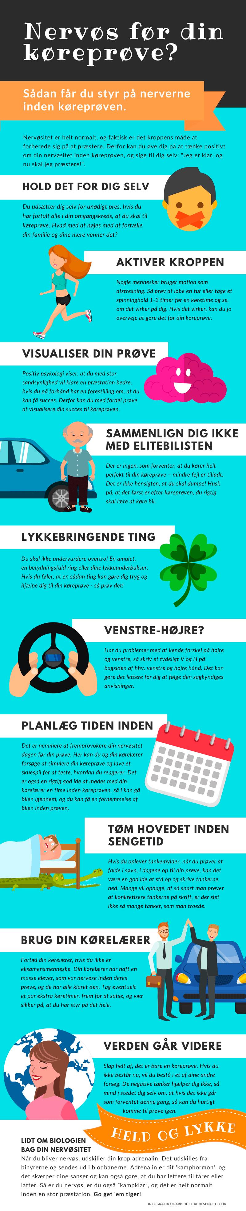 Infografik med 10 gode tips til, hvordan du bekæmper nervøsitet inden din køreprøve - Sengetid.dk